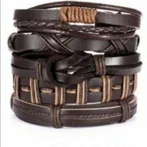 Men's Brown Genuine Leather Braided Bracelet Set